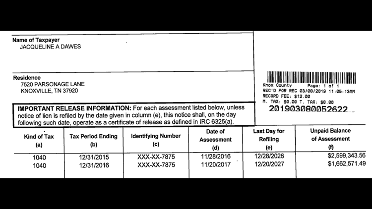 IRS tax lien filed by IRS in Knox County against Jacqueline Dawes. The agency filed a similar one in Blount County.