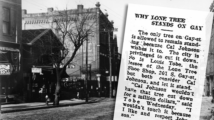 Lone Tree Gay Street Cal Johnson Newspaper Article