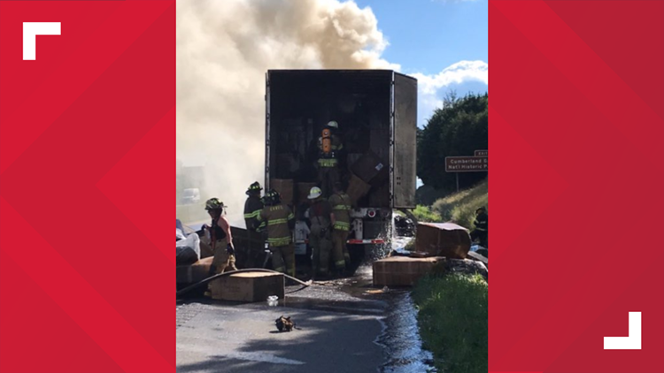 TDOT: One lane open on I-81 South in Hamblen County after fire in tractor-trailer carrying furniture