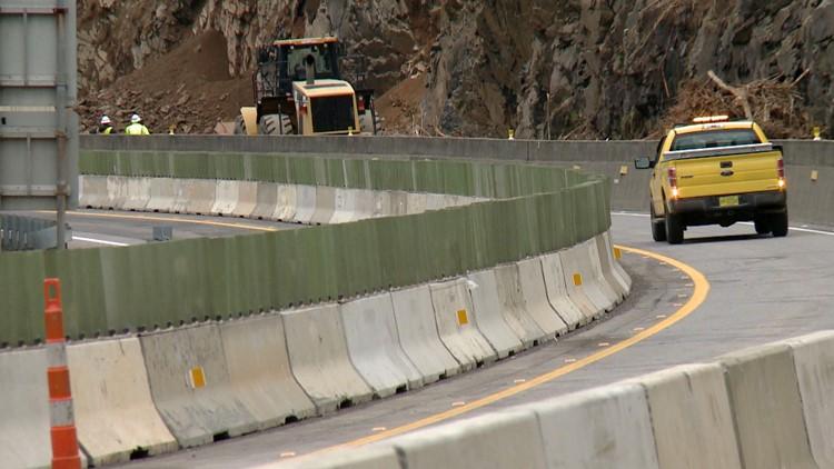 One Lane Interstate 40 Rockslide North Carolina