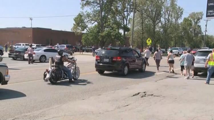 Powell High School lockdown - parents pick up kids
