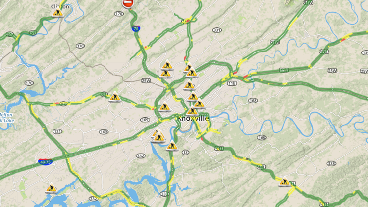 Knoxville Traffic Map.How Are The Roads In East Tennessee Wbir Com