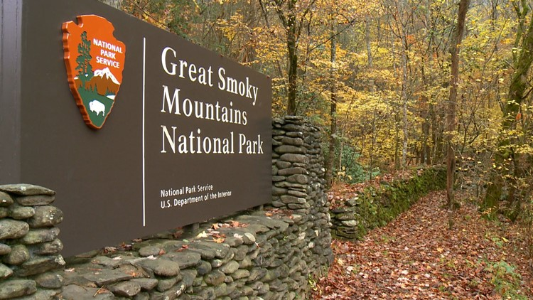 Entrance Sign Great Smoky Mountains National Park Townsend