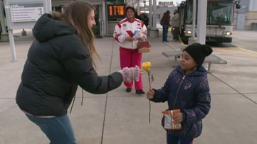Hundreds of roses handed out on KAT buses for Valentine's Day
