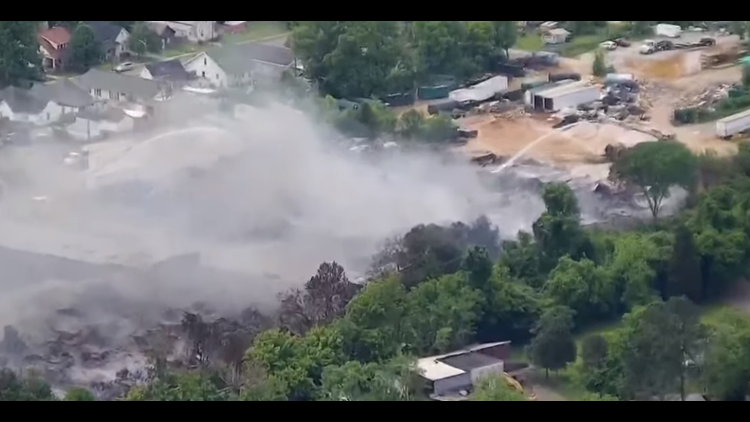 Fire as it began to dissipate at recycling plant.
