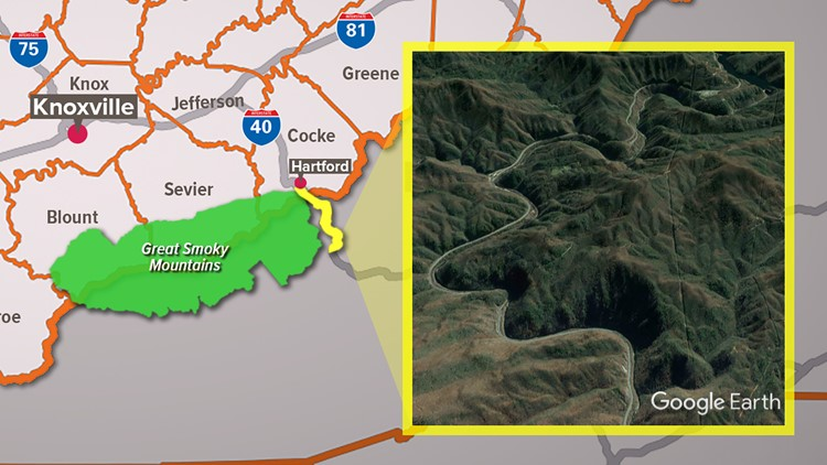Pigeon River Gorge Map Interstate 40 Google Earth