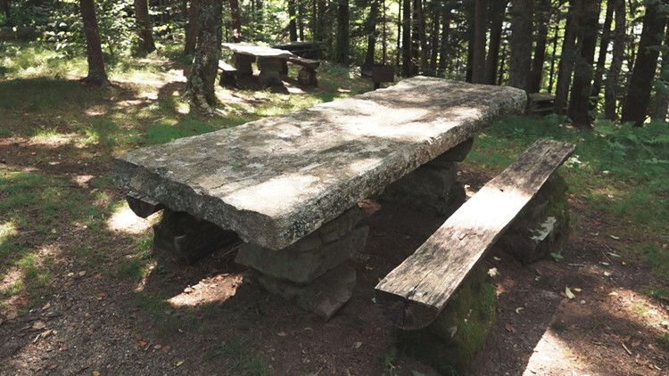 Balsam Mountain Picnic Area Great Smoky Mountains National Park Smokies stone tables