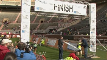Marathon winner crosses finish line