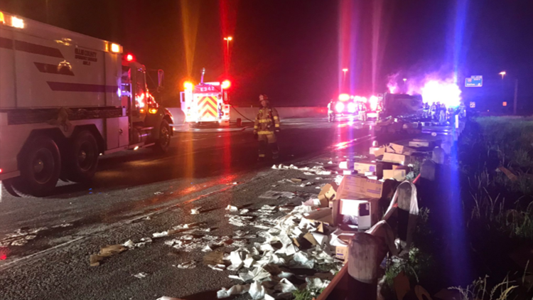 Truck carrying toilet paper catches fire, shuts down all lanes of Texas highway