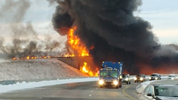 Fiery Tanker Crash Clean Up Limits Access to I-73 Southbound  in Greensboro