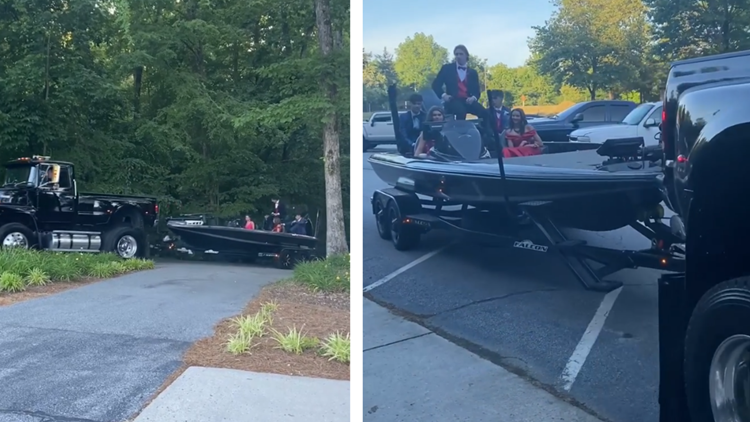 NC juniors arrive at prom in fishing boat