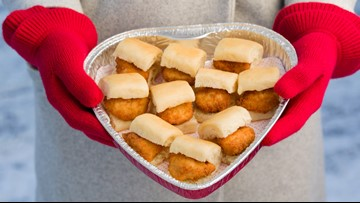 You can give your loved one a heart-shaped tray of Chick-fil-a this Valentine's Day
