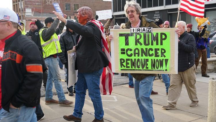 Trump protesters Toledo Huntington Center