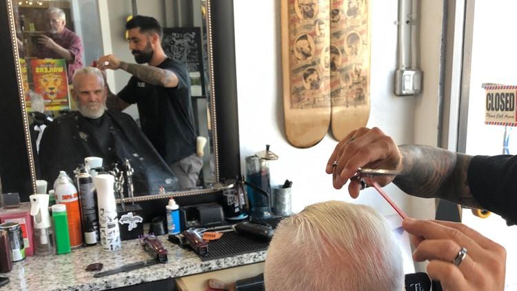 Bob Turnbull gets a haircut