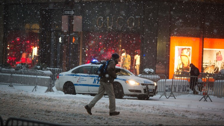 <p>Two little ponies broke free from their New York City stables during the storm that's pounding the East Coast with snow, sleet, rain and wind.</p>