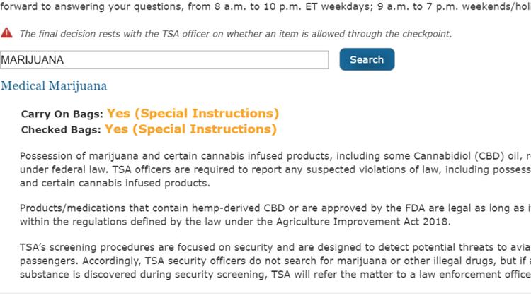 Screengrab from TSA website on May 28, 2019