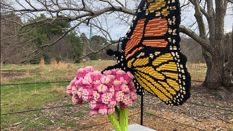 Giant LEGO sculptures on display at Norfolk Botanical Garden